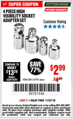 Harbor Freight Coupon 4 PIECE HIGH VISIBILITY SOCKET ADAPTER SET Lot No. 62851/67925 Expired: 11/27/19 - $2.99