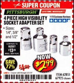 Harbor Freight Coupon 4 PIECE HIGH VISIBILITY SOCKET ADAPTER SET Lot No. 62851/67925 Expired: 3/31/20 - $2.99
