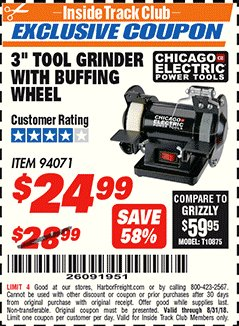 "Harbor Freight ITC Coupon 3"" TOOL GRINDER WITH BUFFING WHEEL Lot No. 94071 Expired: 8/31/18 - $24.99"