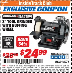 "Harbor Freight ITC Coupon 3"" TOOL GRINDER WITH BUFFING WHEEL Lot No. 94071 Valid Thru: 8/31/19 - $24.99"