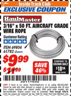 "Harbor Freight ITC Coupon 3/16"" X 50 FT. AIRCRAFT GRADE WIRE ROPE Lot No. 69804/61782 Expired: 9/30/18 - $9.99"