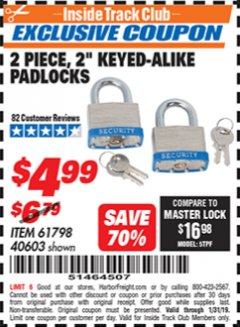 "Harbor Freight ITC Coupon 2 PIECE, 2"" KEYED-ALIKE PADLOCKS Lot No. 61798/40603 Expired: 1/31/19 - $4.99"