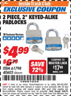 "Harbor Freight ITC Coupon 2 PIECE, 2"" KEYED-ALIKE PADLOCKS Lot No. 61798/40603 Expired: 4/30/19 - $4.99"