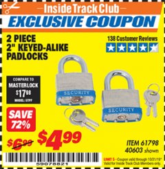 "Harbor Freight ITC Coupon 2 PIECE, 2"" KEYED-ALIKE PADLOCKS Lot No. 61798/40603 Expired: 10/31/19 - $4.99"