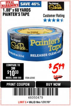"Harbor Freight Coupon 1.88"" X 60 YARDS PAINTER'S TAPE Lot No. 63243 Expired: 1/31/19 - $5.49"