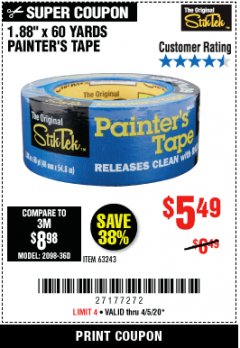 "Harbor Freight Coupon 1.88"" X 60 YARDS PAINTER'S TAPE Lot No. 63243 Valid: 3/24/20 - 6/30/20 - $5.49"