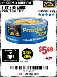 "Harbor Freight Coupon 1.88"" X 60 YARDS PAINTER'S TAPE Lot No. 63243 Valid Thru: 6/30/20 - $5.49"