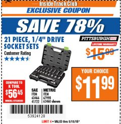 "Harbor Freight ITC Coupon 21 PIECE, 1/4"" DRIVE SOCKET SETS Lot No. 41722/63466/67998/63460 Expired: 5/15/18 - $11.99"
