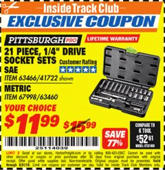 "Harbor Freight ITC Coupon 21 PIECE, 1/4"" DRIVE SOCKET SETS Lot No. 41722/63466/67998/63460 Expired: 8/31/18 - $11.99"