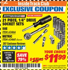 "Harbor Freight ITC Coupon 21 PIECE, 1/4"" DRIVE SOCKET SETS Lot No. 41722/63466/67998/63460 Expired: 6/30/20 - $11.99"