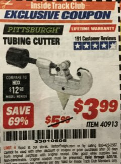 Harbor Freight ITC Coupon TUBING CUTTER Lot No. 40913 Expired: 5/31/19 - $3.99