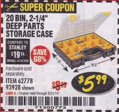 Harbor Freight Coupon 20 BIN PORTABLE PARTS STORAGE CASE Lot No. 62778/93928 Expired: 8/31/19 - $5.99