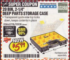 Harbor Freight Coupon 20 BIN PORTABLE PARTS STORAGE CASE Lot No. 62778/93928 Expired: 10/31/19 - $5.99