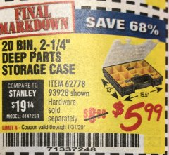 Harbor Freight Coupon 20 BIN PORTABLE PARTS STORAGE CASE Lot No. 62778/93928 Expired: 1/31/20 - $5.99