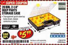 Harbor Freight Coupon 20 BIN PORTABLE PARTS STORAGE CASE Lot No. 62778/93928 Expired: 3/31/20 - $5.99