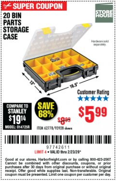 Harbor Freight Coupon 20 BIN PORTABLE PARTS STORAGE CASE Lot No. 62778/93928 Expired: 2/23/20 - $5.99