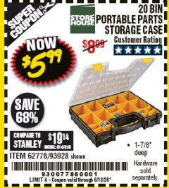 Harbor Freight Coupon 20 BIN PORTABLE PARTS STORAGE CASE Lot No. 62778/93928 Valid Thru: 6/30/20 - $5.99