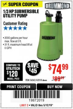 Harbor Freight Coupon 1/3 HP SUBMERSIBLE UTILITY PUMP - 2000 GPH Lot No. 63318 Expired: 5/12/19 - $74.99