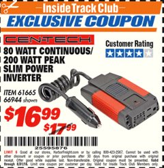 Harbor Freight ITC Coupon 80 WATT CONTINUOUS / 200 WATT PEAK SLIM POWER INVERTER Lot No. 61665/66944 Expired: 8/31/18 - $16.99
