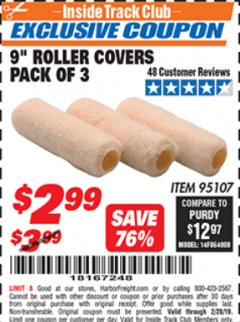 "Harbor Freight ITC Coupon 9"" ROLLER COVERS PACK OF 3 Lot No. 95107 Expired: 2/28/19 - $2.99"