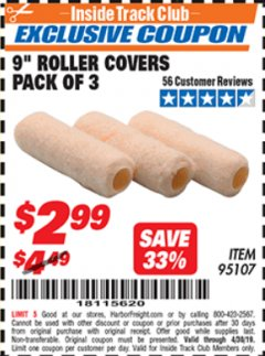 "Harbor Freight ITC Coupon 9"" ROLLER COVERS PACK OF 3 Lot No. 95107 Expired: 4/30/19 - $2.99"