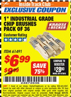 "Harbor Freight ITC Coupon 1"" INDUSTRIAL GRADE CHIP BRUSHES PACK OF 36 Lot No. 61491 Expired: 8/31/18 - $6.99"