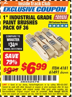 "Harbor Freight ITC Coupon 1"" INDUSTRIAL GRADE CHIP BRUSHES PACK OF 36 Lot No. 61491 Expired: 8/31/19 - $6.99"