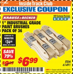 "Harbor Freight ITC Coupon 1"" INDUSTRIAL GRADE CHIP BRUSHES PACK OF 36 Lot No. 61491 Expired: 4/30/20 - $6.99"