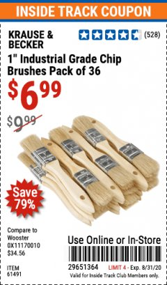 "Harbor Freight ITC Coupon 1"" INDUSTRIAL GRADE CHIP BRUSHES PACK OF 36 Lot No. 61491 Expired: 8/31/20 - $6.99"