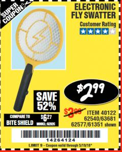Harbor Freight Coupon ELECTRIC FLY SWATTER Lot No. 61351/40122/62540/62577 Expired: 5/19/18 - $2.99