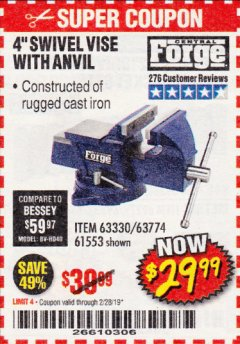 "Harbor Freight Coupon 4"" SWIVEL VICE WITH ANVIL Lot No. 67035/63330/61553 Expired: 2/28/19 - $29.99"