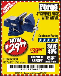 "Harbor Freight Coupon 4"" SWIVEL VICE WITH ANVIL Lot No. 67035/63330/61553 Expired: 2/15/20 - $29.99"