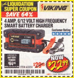 Harbor Freight Coupon 4AMP 6/12V HIGH FREQUENCY SMART BATTERY CHARGER Lot No. 63350 Expired: 6/30/18 - $22.99