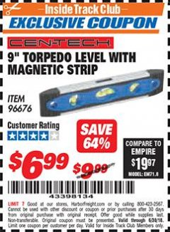 "Harbor Freight ITC Coupon 9"" MAGNETIC TORPEDO LEVEL Lot No. 96676 Expired: 6/30/18 - $6.99"