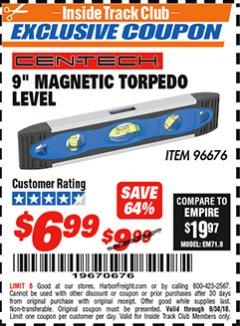 "Harbor Freight ITC Coupon 9"" MAGNETIC TORPEDO LEVEL Lot No. 96676 Expired: 9/30/18 - $6.99"