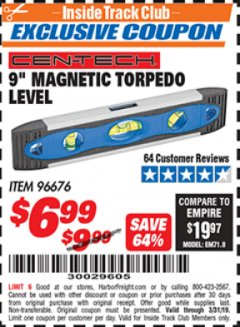 "Harbor Freight ITC Coupon 9"" MAGNETIC TORPEDO LEVEL Lot No. 96676 Expired: 3/31/19 - $6.99"