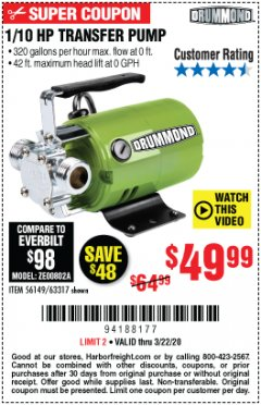 Harbor Freight Coupon 1/10 HP TRANSFER PUMP Lot No. 63317 Expired: 3/22/20 - $49.99