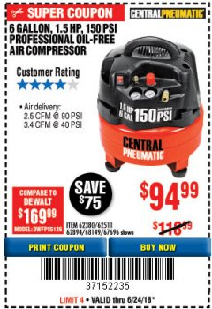 Harbor Freight Coupon 1.5 HP, 6 GALLON, 150 PSI PROFESSIONAL AIR COMPRESSOR Lot No. 62894/67696/62380/62511/68149 Expired: 6/24/18 - $94.99