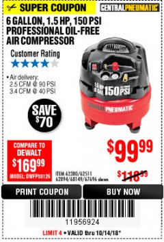 Harbor Freight Coupon 1.5 HP, 6 GALLON, 150 PSI PROFESSIONAL AIR COMPRESSOR Lot No. 62894/67696/62380/62511/68149 Expired: 10/14/18 - $99.99