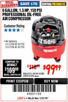 Harbor Freight Coupon 1.5 HP, 6 GALLON, 150 PSI PROFESSIONAL AIR COMPRESSOR Lot No. 62894/67696/62380/62511/68149 Expired: 1/31/19 - $99.99