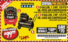 Harbor Freight Coupon 1.5 HP, 6 GALLON, 150 PSI PROFESSIONAL AIR COMPRESSOR Lot No. 62894/67696/62380/62511/68149 Expired: 2/16/19 - $99.99