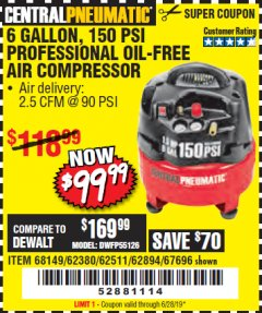 Harbor Freight Coupon 1.5 HP, 6 GALLON, 150 PSI PROFESSIONAL AIR COMPRESSOR Lot No. 62894/67696/62380/62511/68149 Expired: 6/28/19 - $99.99