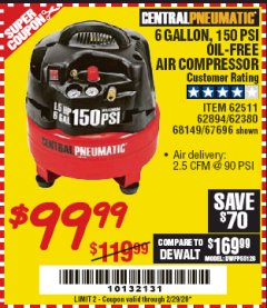 Harbor Freight Coupon 1.5 HP, 6 GALLON, 150 PSI PROFESSIONAL AIR COMPRESSOR Lot No. 62894/67696/62380/62511/68149 Expired: 2/29/20 - $99.99