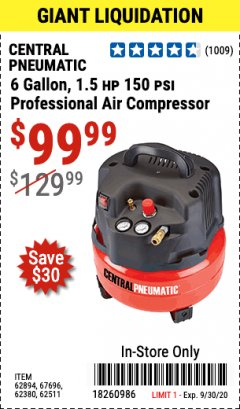 Harbor Freight Coupon 1.5 HP, 6 GALLON, 150 PSI PROFESSIONAL AIR COMPRESSOR Lot No. 62894/67696/62380/62511/68149 Expired: 9/30/20 - $99.99