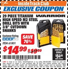 "Harbor Freight ITC Coupon 29 PIECE TITANIUM M2 HIGH SPEED STEEL DRILL BITS WITH 3/8"" CUTDOWN SHANKS Lot No. 61801 Expired: 6/30/18 - $14.99"