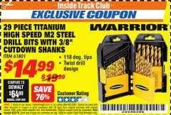 "Harbor Freight ITC Coupon 29 PIECE TITANIUM M2 HIGH SPEED STEEL DRILL BITS WITH 3/8"" CUTDOWN SHANKS Lot No. 61801 Expired: 8/31/18 - $14.99"