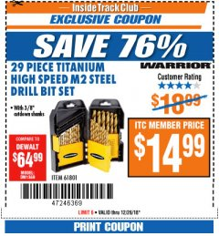 "Harbor Freight ITC Coupon 29 PIECE TITANIUM M2 HIGH SPEED STEEL DRILL BITS WITH 3/8"" CUTDOWN SHANKS Lot No. 61801 Expired: 12/26/18 - $14.99"