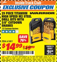 "Harbor Freight ITC Coupon 29 PIECE TITANIUM M2 HIGH SPEED STEEL DRILL BITS WITH 3/8"" CUTDOWN SHANKS Lot No. 61801 Valid Thru: 2/28/19 - $14.99"