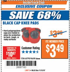 Harbor Freight ITC Coupon BLACK CAP KNEE PADS Lot No. 60799/46698 Expired: 11/13/18 - $3.49