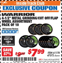 "Harbor Freight ITC Coupon 10 PIECE, 4-1/2"" METAL GRINDING/CUT-OO/FLAP WHEEL ASSORTED SET Lot No. 47572/61178 Valid Thru: 6/30/20 - $7.99"